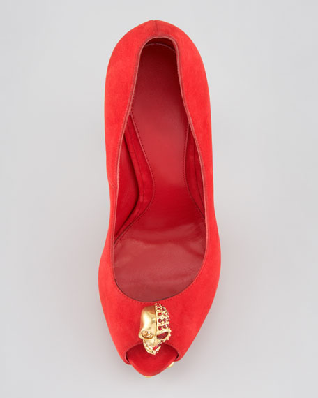 Two-Faced Skull Platform Pump, Red
