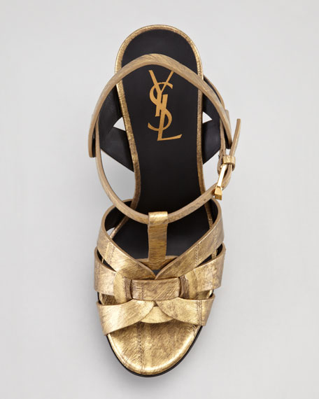 Tribute Metallic Leather Suede-Heel Sandal, Gold
