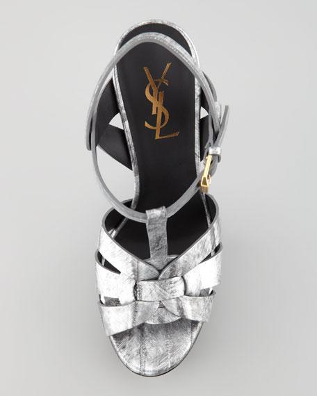 Tribute Metallic Leather Suede-Heel Sandal