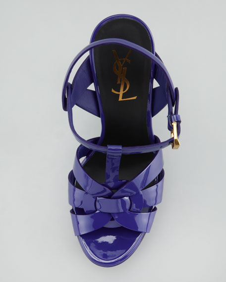 Tribute Patent Leather Sandal, Blue
