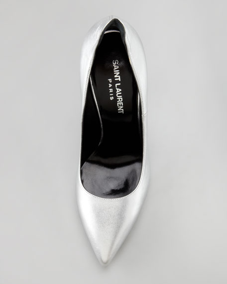 Metallic Exaggerated-Heel Pump, Silver