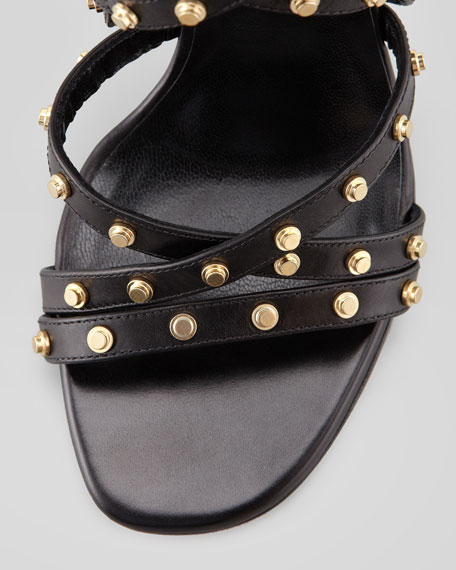 Strappy Studded Leather Sandal