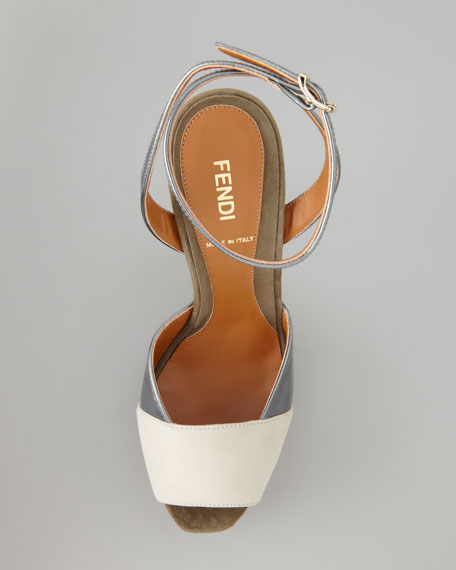 Fendista Colorblock Ankle-Wrap Sandal