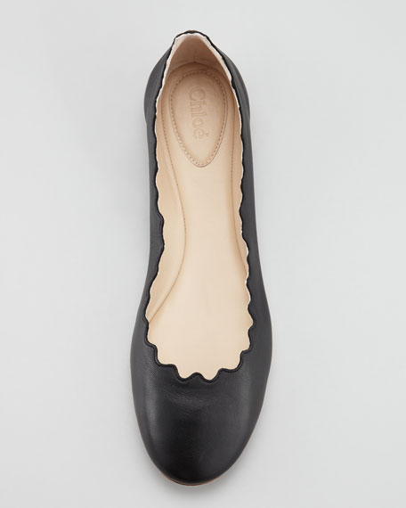 Scallop-Edge Ballerina Flat, Black