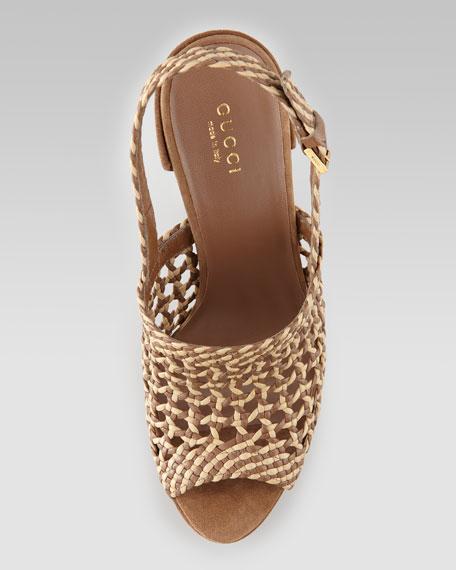 Hand-Woven Platform Sandal, Acero/Cream