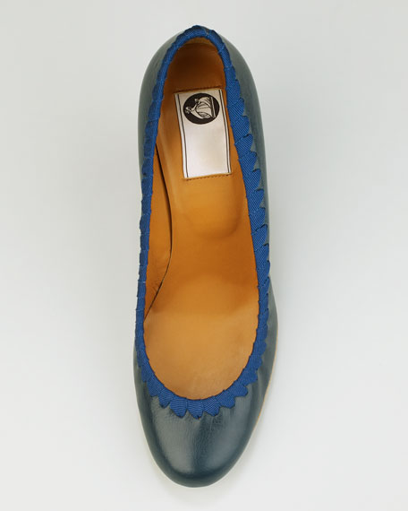 Grosgrain-Stitched Leather Wedge Pump