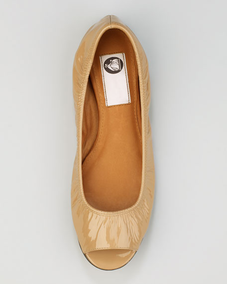 Peep-Toe Scrunched Patent Leather Ballerina Flat, Nude