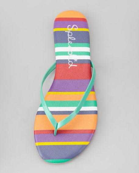 Madrid Striped Flip Flops, Green