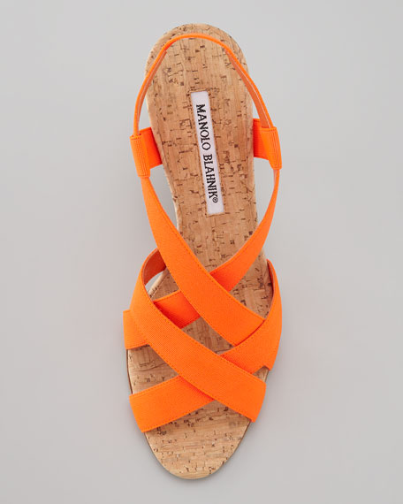 Lasti Crisscross Cork Slingback Sandal, Orange