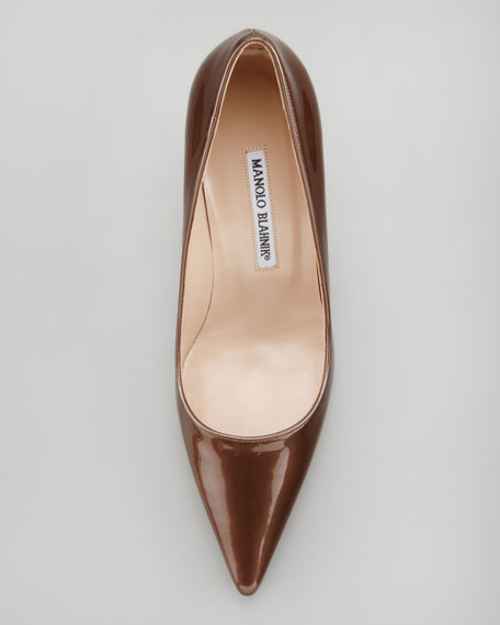 Newcio Patent Leather Pointed Toe Pump, Bronze