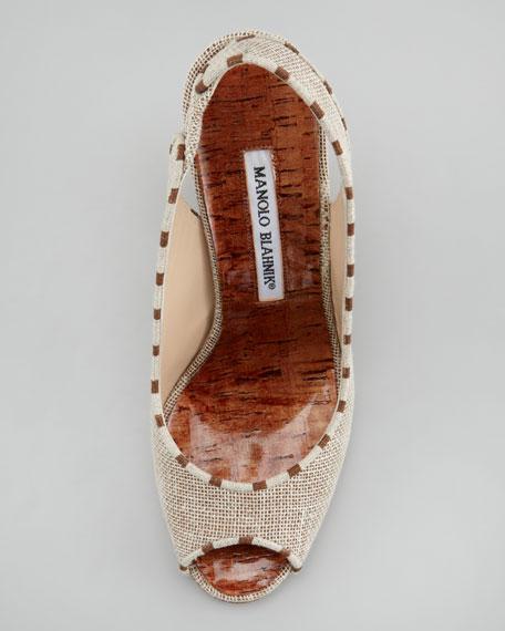 Pato Linen-Cork Slingback Wedge