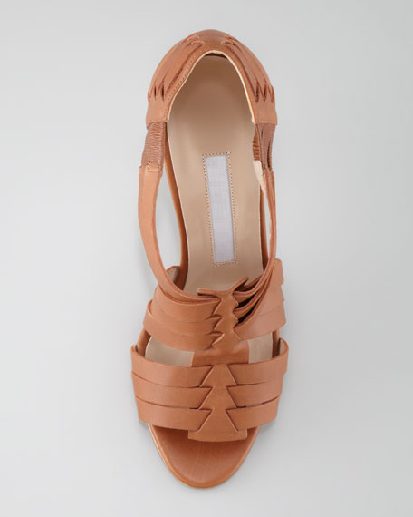 Zecca Woven Leather Open-Toe Pump, Luggage