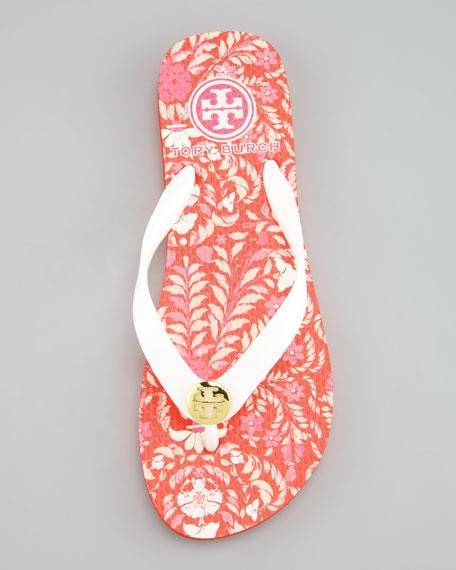 Tropical-Printed Flip-Flop Sandal