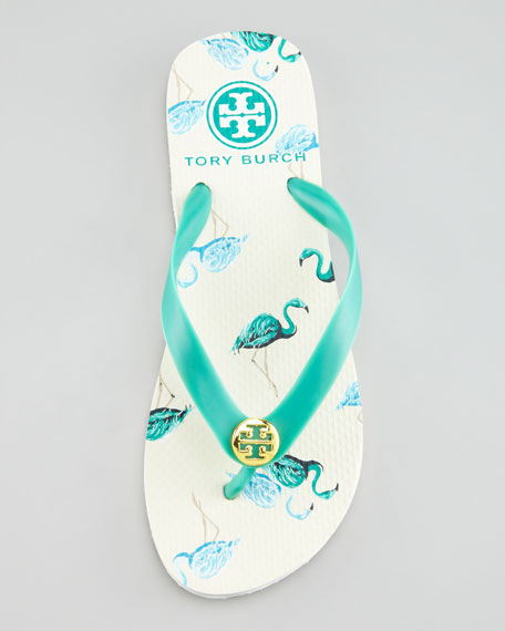 Flamingo-Printed Flip-Flop Sandal