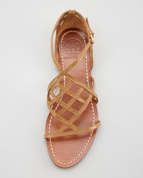 Amalie Patent Leather Flat Cage Sandal, Sand