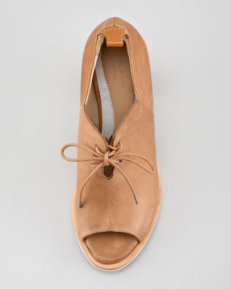 Buckley Open-Toe Lace-Up Sandal Bootie, Tan