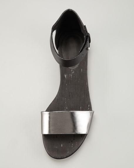 Specchio Cork Flat Sandal, Black