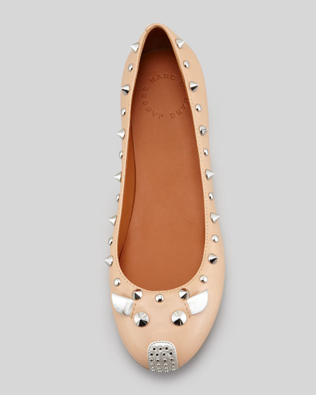 Studded Mouse Ballerina Flat, Nude
