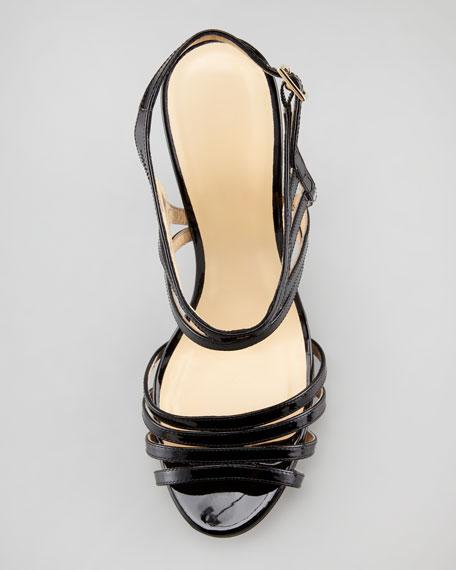 raven patent leather cage sandal, black