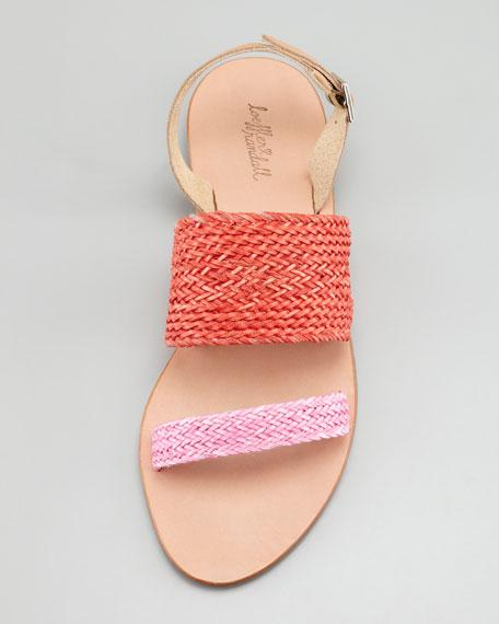 Dree Woven Flat Sandal, Red/Bubblegum