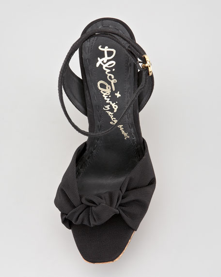 Ilisa Grosgrain Wedge Sandal, Black
