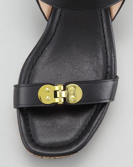 Adela Leather & Straw Flatform Wedge Sandal