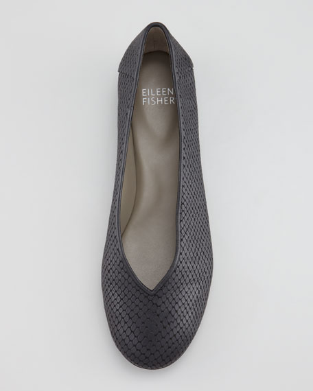 Patch 1 Snake-Embossed Ballerina Flat, Black