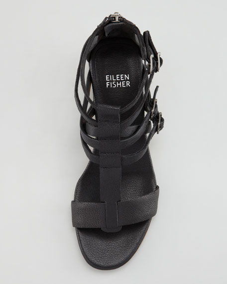 Echo Low-Wedge Gladiator Sandal, Black