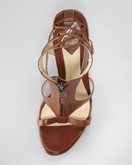 Merritta Zip-Front Sandal, Brown