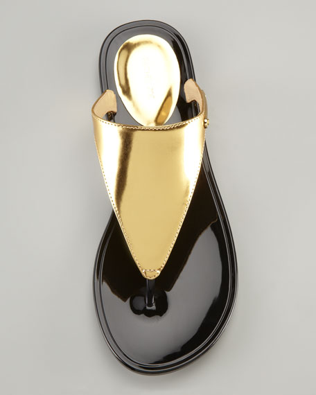 Cami Jelly Thong Sandal, Gold