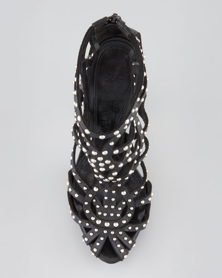 Studded Leather Cage Bootie