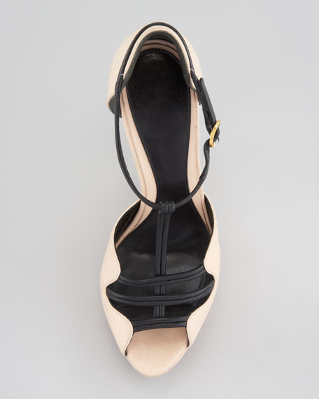 Two-Tone Leather Platform Sandal