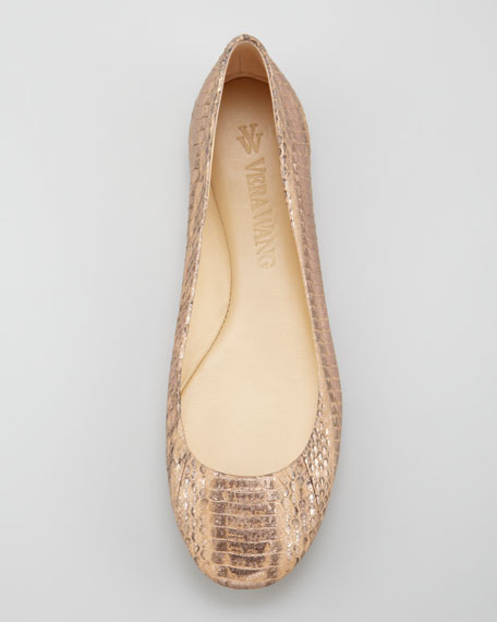 Lara Snake-Embossed Ballerina Flat, Pale Copper
