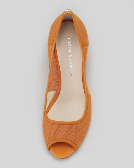 Molly Stretch-Mesh Low-Cork Wedge, Tangerine