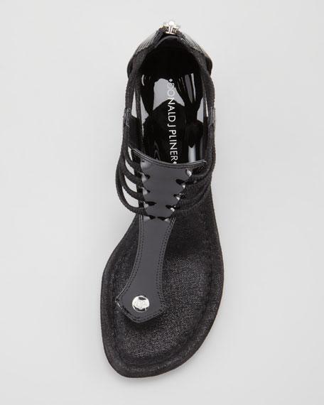 Dyna Rope-Strap Wedge Sandal, Black