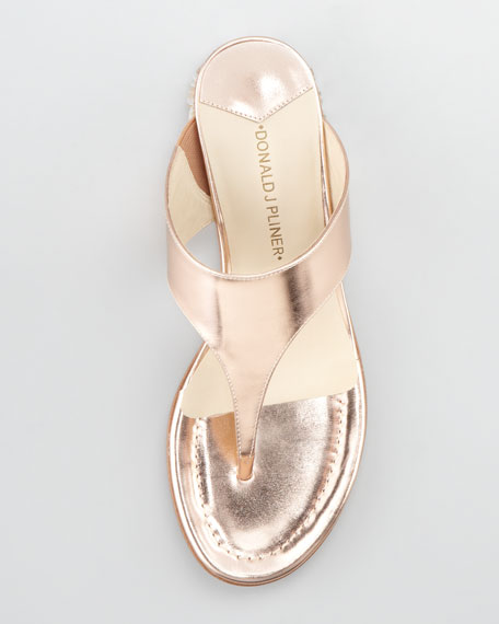 Connie Jewel-Heel Thong Sandal, Rose Gold