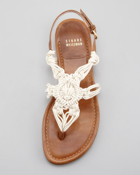 Corded Thong Flat Sandal, Saddle