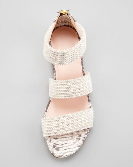 Ligament Ottoman Elastic Flat Sandal, Neutral