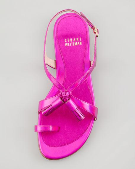Flapper Hologram Specchio Flat Sandal, Shocking Pink