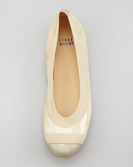 Tipable Patent Leather Ballet Flat, Birch