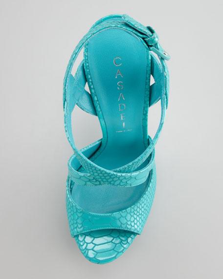 Snake-Stamped Patent Platform Sandal