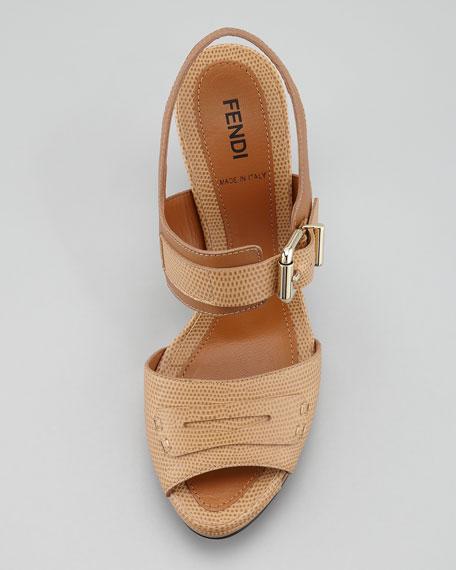 Penny-Strap Lizard-Embossed Leather Sandal, Beige