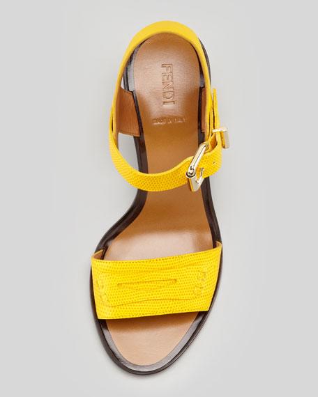 Lizard-Stamped Penny Low Heel Sandal
