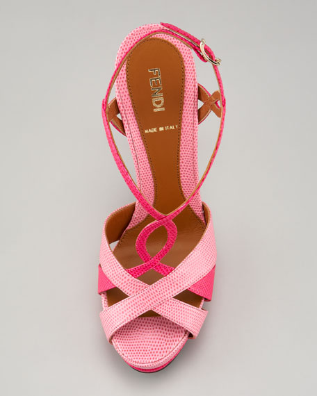 Twisted T-Strap Two-Tone Sandal, Pink