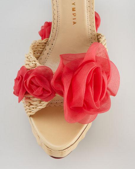 Hortencia Wicker-Woven Leather Wedge Sandal
