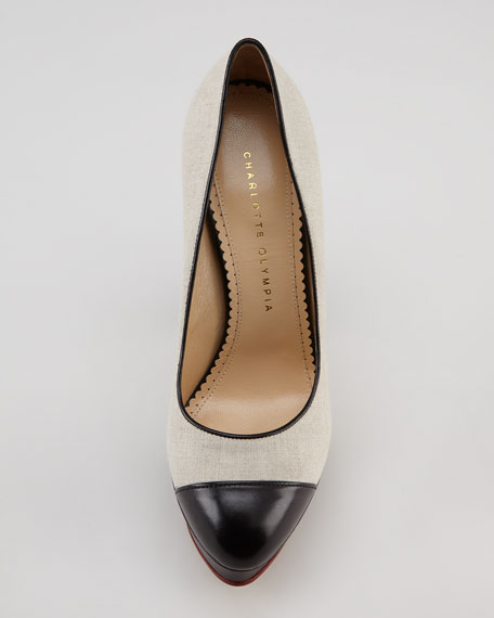 Monacoco Linen Cap-Toe Pump, Natural/Black