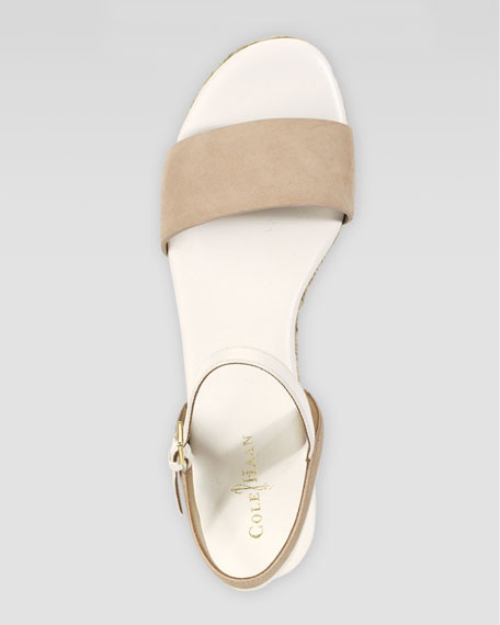 Arden Nubuck Wedge Sandal, Sandstone
