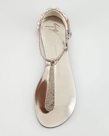 Metallic Flat Thong Sandal, Anthracite