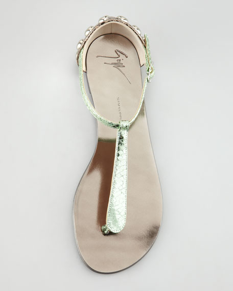 Metallic Flat Thong Sandal, Green