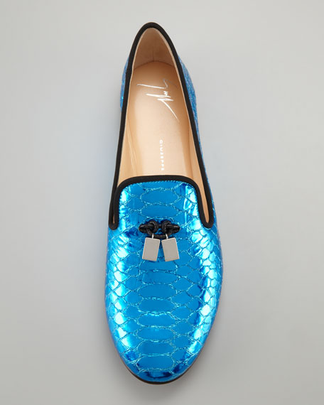 Snake-Print Smoking Slipper, Blue